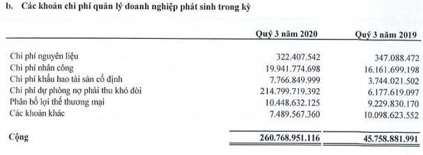 Các khoản chi phí quản lý doanh nghiệp phát sinh trong kỳ