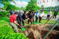 Nghi thức trồng cây được thực hiện bởi Nguyên Chủ tịch nước Trương Tấn Sang và các lãnh đạo cấp cao nhằm đánh dấu cột mốc 25 năm ý nghĩa của Trường Đại học Văn Lang